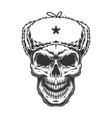 skull in ushanka hat vector image vector image