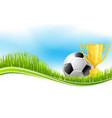 soccer ball and football trophy banner design vector image vector image