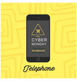telephone mobile cyber monday yellow background ve vector image