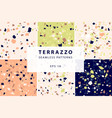 terrazzo seamless patterns in decorative style vector image vector image