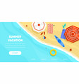 top view coast beach with umbrella ball sunglasses vector image