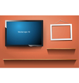 tv on wall with wood shelf vector image