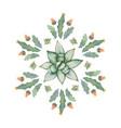 watercolor round mandala of cacti and vector image