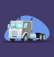 white delivery service truck and cardboard city vector image