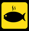yellow black sign - grilling fish with smoke icon vector image vector image