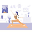 young beautiful woman character doing yoga vector image vector image