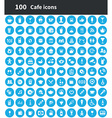 100 cafe icons vector image vector image
