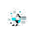 a young girl creating websites vector image vector image