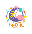 abstract doodle travel logo with pink flamingo vector image
