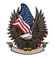 american flag with bald eagle and banner vector image