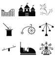 amusement park icon set vector image vector image