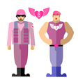 Army soldiers love Military in a pink dress with vector image