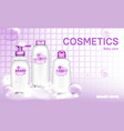 bacosmetic bottle design soap bubbles realistic vector image
