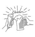 beer cheers hand bw vector image