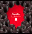 black balls frame red background vector image