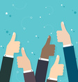 Business people holding many thumbs thumbs up vector image