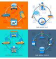 Car wash service 4 icons flat vector image vector image