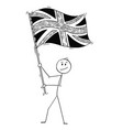 cartoon of man waving the flag of united kingdom vector image