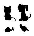 cat and dog silhouette design element vector image vector image