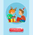 christmas holidays children opening present vector image vector image