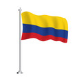colombia flag isolated wave flag colombia vector image vector image