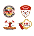 Color firefighter emblems labels and badges vector image