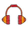 colorful crayon silhouette of headset stereo sound vector image vector image