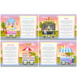 cotton candy pizza hot dog and ice cream stands vector image
