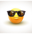 Cute smiling emoticon wearing black sunglasses