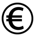 Euro button on white vector image