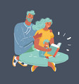 father mother and son are reading a book vector image vector image