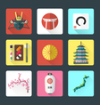 flat design japanese icons set vector image vector image