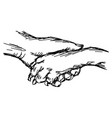 hand of man and dog shaking vector image vector image
