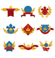 heraldic banners with crowns stars and ribbons vector image