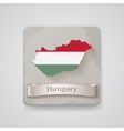 icon hungary map with flag vector image