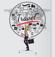 journey with travel icons set on world map vector image