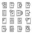 line mobile apps icons set on white vector image