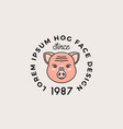 line style hog face with retro typography vector image vector image