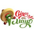 mexican cactus in sombrero hat holding maracas vector image