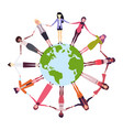 mix race women holding hands around globe vector image