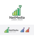 network media logo vector image vector image