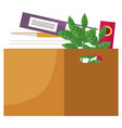 opened paper container for storage with books vector image