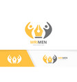 pen and people logo combination write and vector image vector image