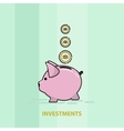 piggy pig for saving money line art vector image