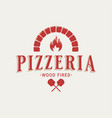 pizzeria logo with oven shovel wood fired pizza vector image