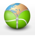 Planet Earth inside tennis ball vector image vector image