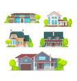 private houses mansions and cottage icons vector image vector image