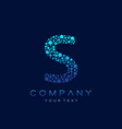 s letter logo science technology connected dots vector image vector image