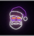 santa claus neon sign hipster wearing in glasses vector image vector image