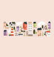 set isolated cute tiny houses small buildings vector image vector image